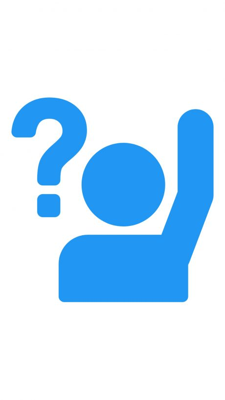 Button imagine for FAQ page. outline of a person tasing their hand having to ask a equation.
